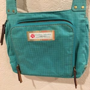 Fossil Brand Canvas Turquoise and stripes handbag